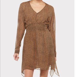 Vici Fate Leopard Print Smocked Dress Tan Brown M